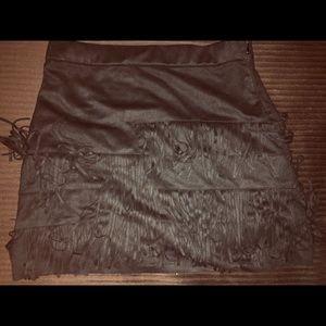 Zara Black fringe Mini Skirt Size Small